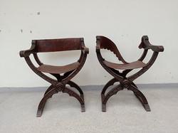 Antik 2 darab reneszánsz kinyitható faragott bőrözött szék karos szék 18-19. század  4299