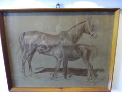 Ifj Vastag György (1868-1946)  szobrász és festőművész lovas vázlat !