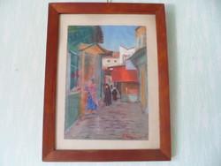 P. Gallard: Medinai utcarészlet 90 éves pasztell fa keretben. Medinai utcai festőtől vásárolt kép.