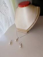 Ezüst nyaklánc és fülbevaló szett, Tekla gyöngyökkel díszítve 925