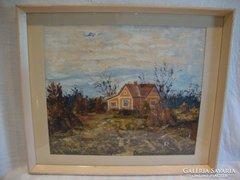 Bady Géza Őszi táj tanyával festmény