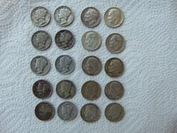 USA 20 darab ezüst dime LOT ! 900-as ezüst