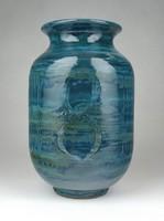 1E963 Kékeszöld mázas retro öblös kerámia váza 21 cm
