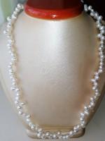 Édesvízi tenyésztett gyöngysor nyaklánc 925 ös ezüst szerelékkel