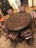 Barokk-antik asztal 6+2 db székkel