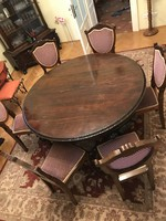 Baroque antique table with 6 + 2 chairs
