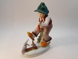Régi német  porcelán kisfiú madarakkal