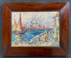 Négely Rudolf (1883-1941) - Velence olaj / karton festmény Nagyon szép!