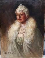 Lengyel Reinfuss Ede (1873-1942) : Női portré  80x60 cm.