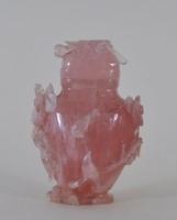 Kínai rózsakvarc palack, finom kézi faragással