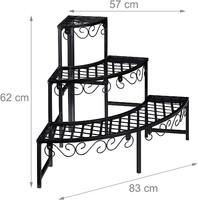 Fém viráglépcső, 3 szintes virágtartó kertbe, erkélyre, lalásba, fekete