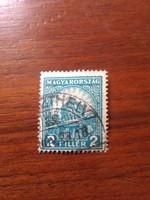 1926. Pengő-Fillér 2 Fillér Világoskék 442. ssz. Használt Bélyeg