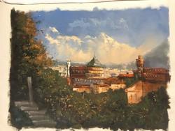 Károlyi István : Firenze látképe , olajfestmény