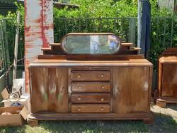 Hatalmas art-deco sideboard komód tükrös tálaló a 30as évekből antik retro vintage bútor diófa tükör
