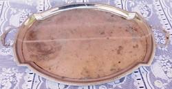 Antik klasszicista stílusú alpakka italos füles tálca WMF jelzéssel, Egyedi ritkaság