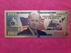 Új - színes+aranyozott, plasztik Joe Biden fantázia bankjegyhez hasonló ajándék  II.