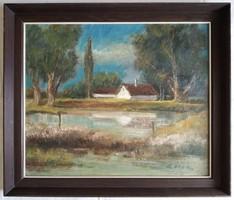 """Gádor Emil """"Meleg nyár"""" olajfestmény eredeti keretben ingyen postával"""