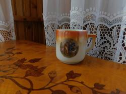 Zsolnay pajzspecsétes kávés csésze 2 darab zsáner képes hibátlan