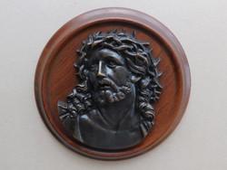 Nagyon szép bronz Jézus Krisztus fej relief kerek fa kereten, falra akasztható