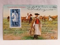 1910 Pányvavető Csikós a Hortobágyon képeslap