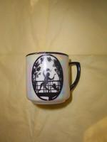 Antik árnyképes kis méretű porcelán  csésze  VBS