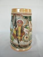 Indián jelenetes kerámia korsó söröskorsó