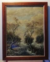 Klasszikus téli tájkép új keretben ( 30 x 40, olaj )