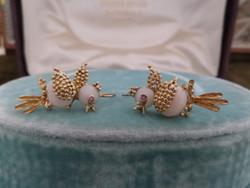 Madárkás különleges arany fülbevaló pár