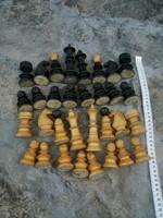 Régi fa sakk figurák kompletten