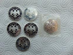 6 darab ezüst 3 rubel 1992 - 1993 LOT ! 6 X 31.1 gramm