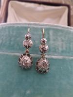 Gyémántos antik arany fülbevaló pár
