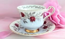 Paragon kék bordó rózsás csontporcelán teás csésze
