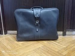 Jó állapotú 1950-es évekbeli fekete bőr bőrönd