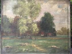 Tájkép tanyával