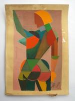 Kubista festmény A.K. monogrammal, orosz UNOVIS stílusjegyekkel