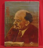 A. Gy. jelzéssel – Lenin, 1961 - nagyon szép szocreál olaj-vászon alkotás (számlával)