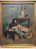 Gyermekét ringató anya ( Fényes Adolf után)