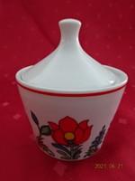 Hollóházi porcelán, kézzel festett  cukortartó, magassága 10 cm.