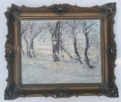 Rökk Károly(1891-1970): Téli erdő. Jelzett olajfestmény.