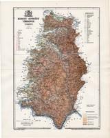 Krassó - Szörény vármegye térkép 1895 (1), lexikon melléklet, Gönczy Pál, 23 x 29 cm, megye, Posner