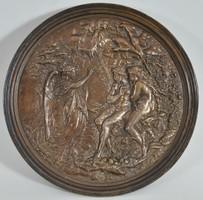 """Bronz domborműv, """"Elveszett paradicsom"""" jelenet, Milton pajzs, 19. századból"""