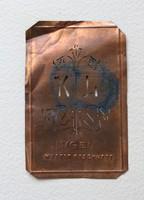 Antik réz monogramm sablon, hímzéshez, kelengyéhez, gyűjteménybe