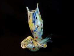 Nagyon ritka Muránói üveg hal alakú váza hamutállal egybe öntve