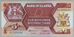 Uganda 5 Shillings UNC 1987