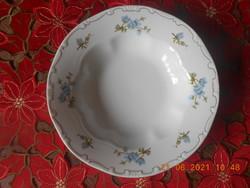 Zsolnay porcelán, kék barackvirág mintás mély tányér