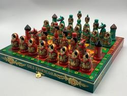 Meseszép Orosz Gold  Khokhloma kézzel festett sakk készlet