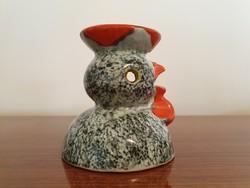 Retro iparművészeti kerámia csirke tyúk dísztárgy madár gyertyatartó