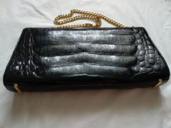 Vintage női bőr táska súlyos aranyozott fém füllel beautiful crocodile alligator women bag