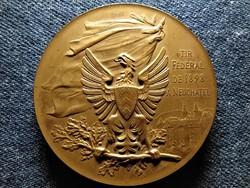 Svájc Lövészfesztivál Neuchatel kanton bronz érem 54,42 g 45,2 mm 1898 (id51050)