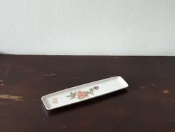 Hollóházi porcelán levélbontó tálka piros lila virágos mintával